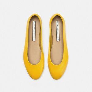 Zara yellow leather ballerina flats